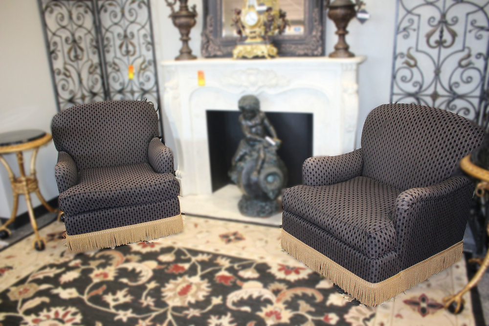 Pair of Black Checkered Chairs with Gold Fringe