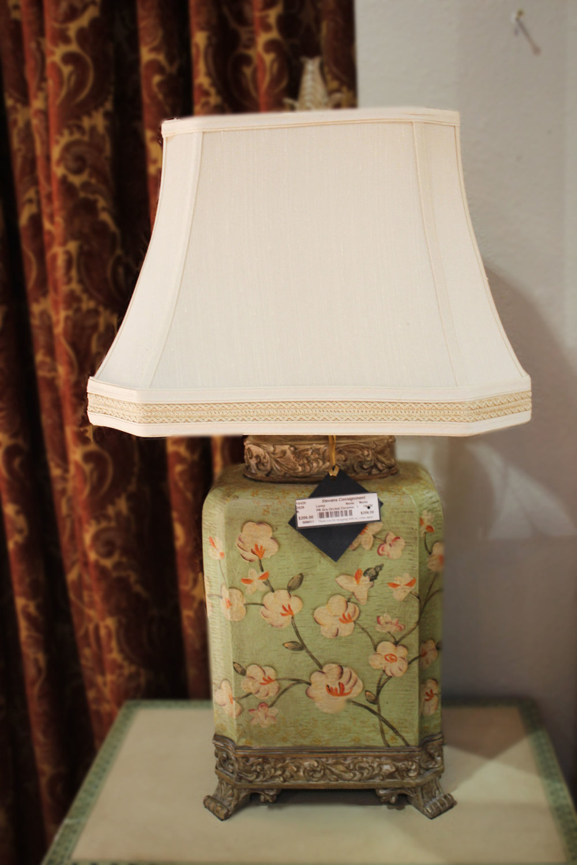 Pair of Green Orchid Ceramic Lamps