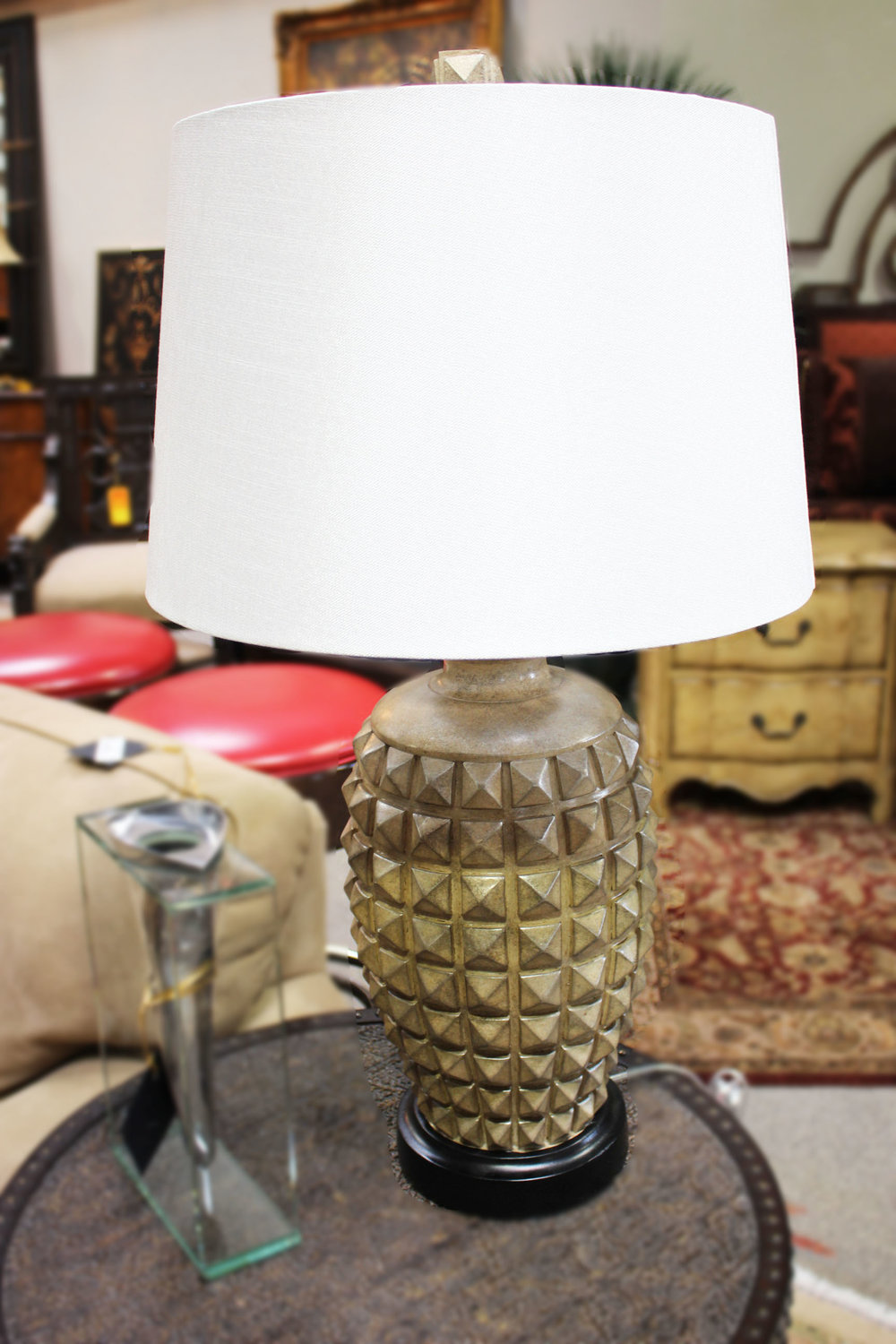 Pair of Silver Ribbed Lamps