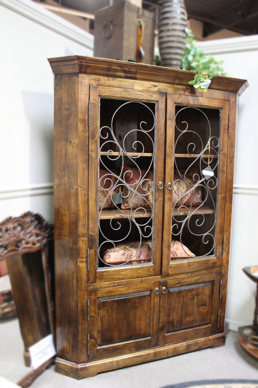 Wood Corner Cabinet with Iron Doors