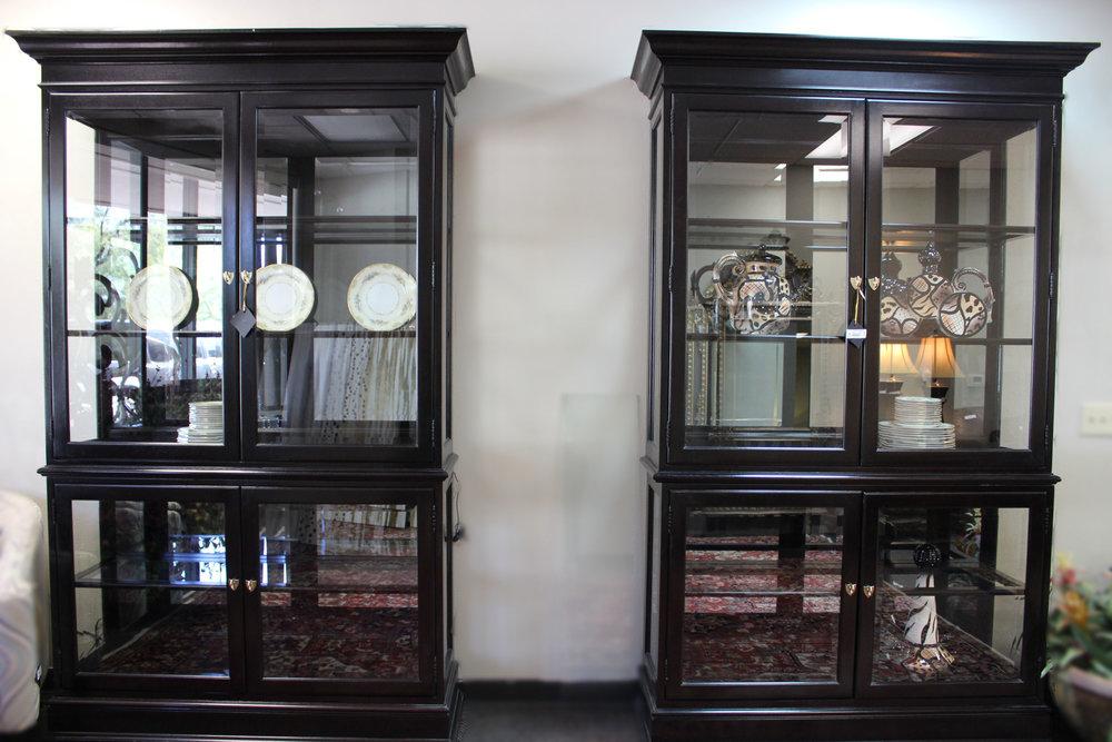 2 Piece Black & Glass China Cabinets