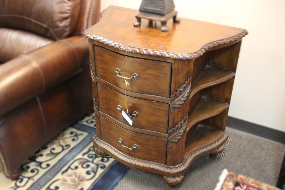 3 Drawer Carved Nightstand