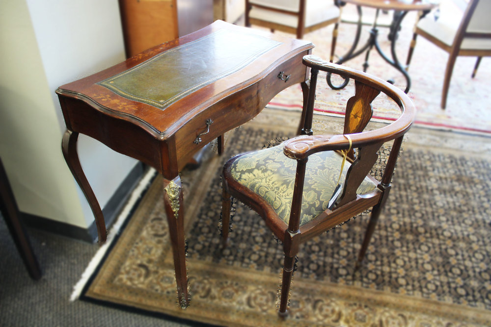 Antique Leather Top Small Desk & Chair