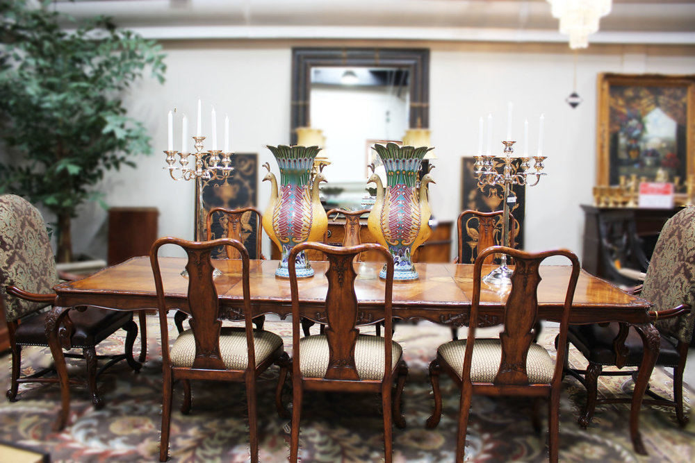 Carved Dining Table with 6 Queen Ann Chairs & Pair of Brown Leather Arm Chairs with Chenille Fabric