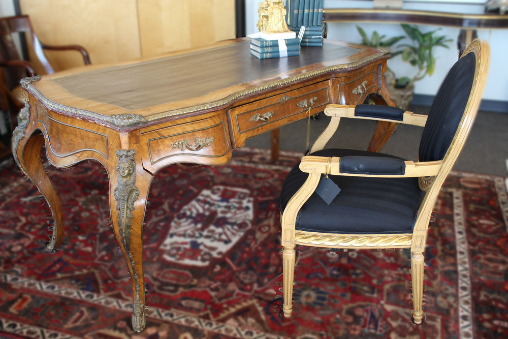 French Desk AS IS & Oval Black & Gold Arm Chair