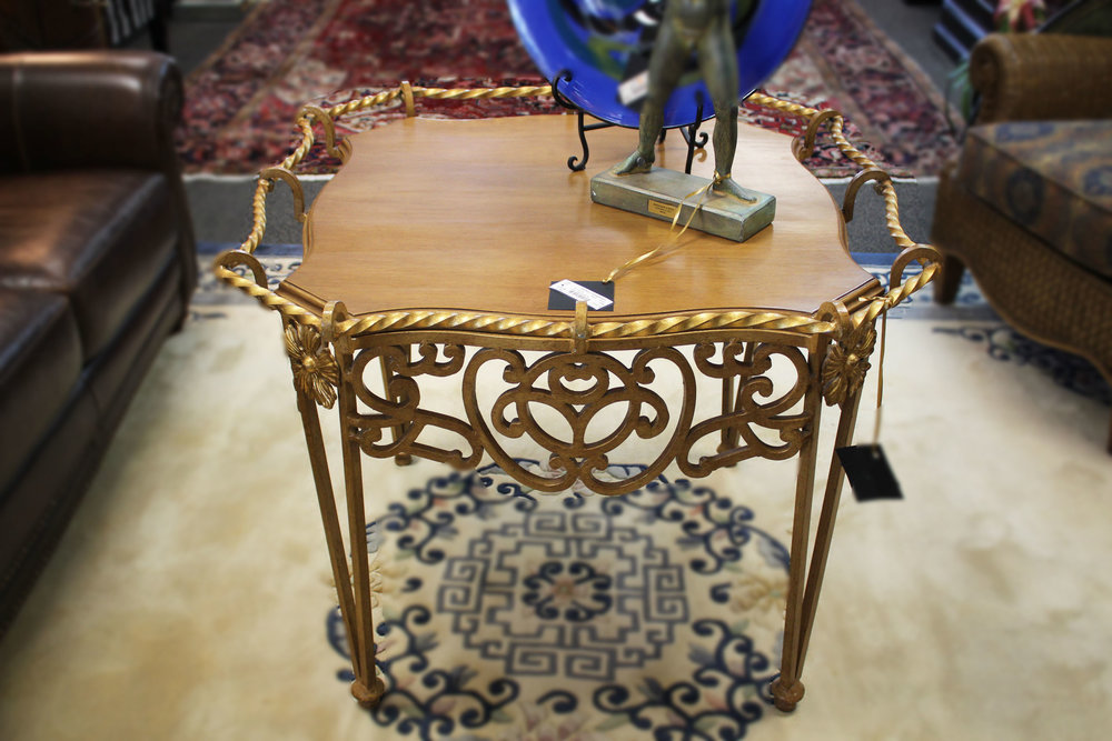 Gold Wrought Iron with Wood Top Table