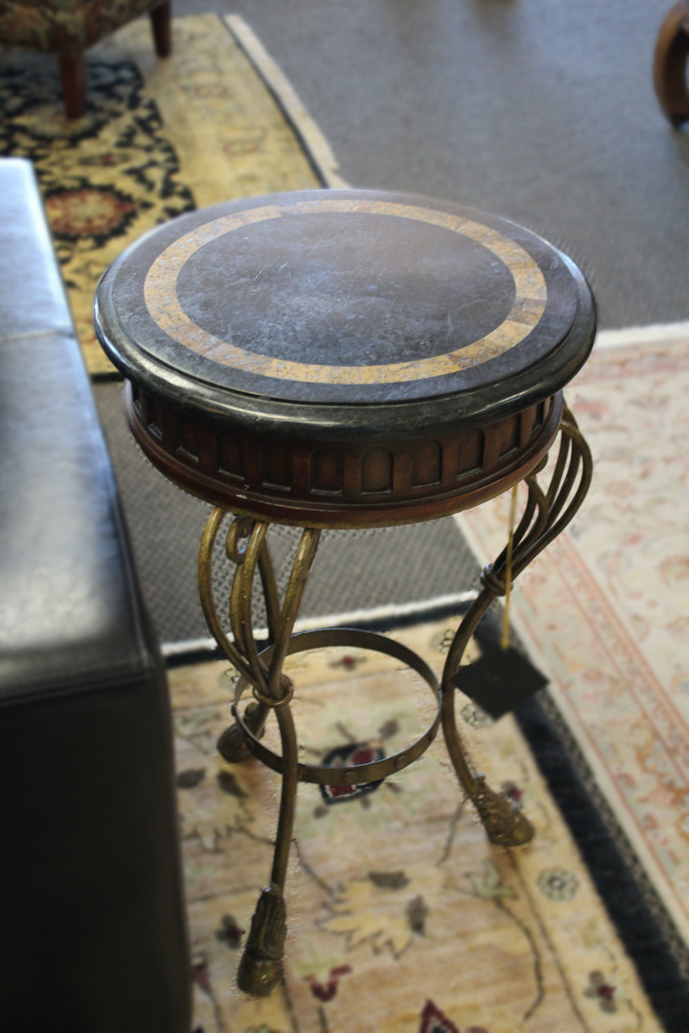 Iron & Wood with Faux Stone Top End Table