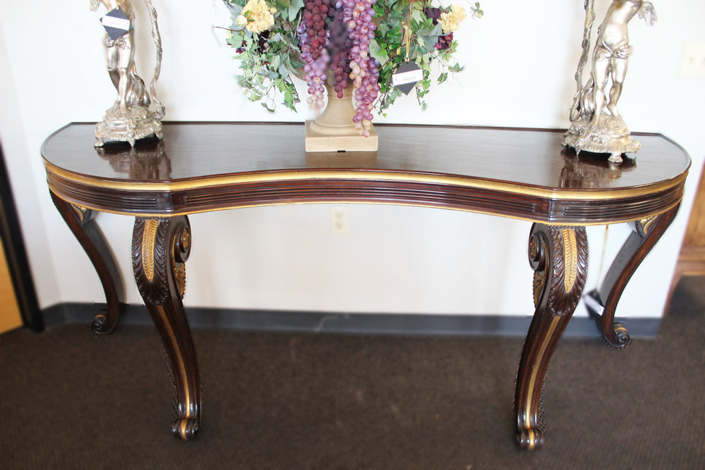 Long Wood Console with Gold Accents