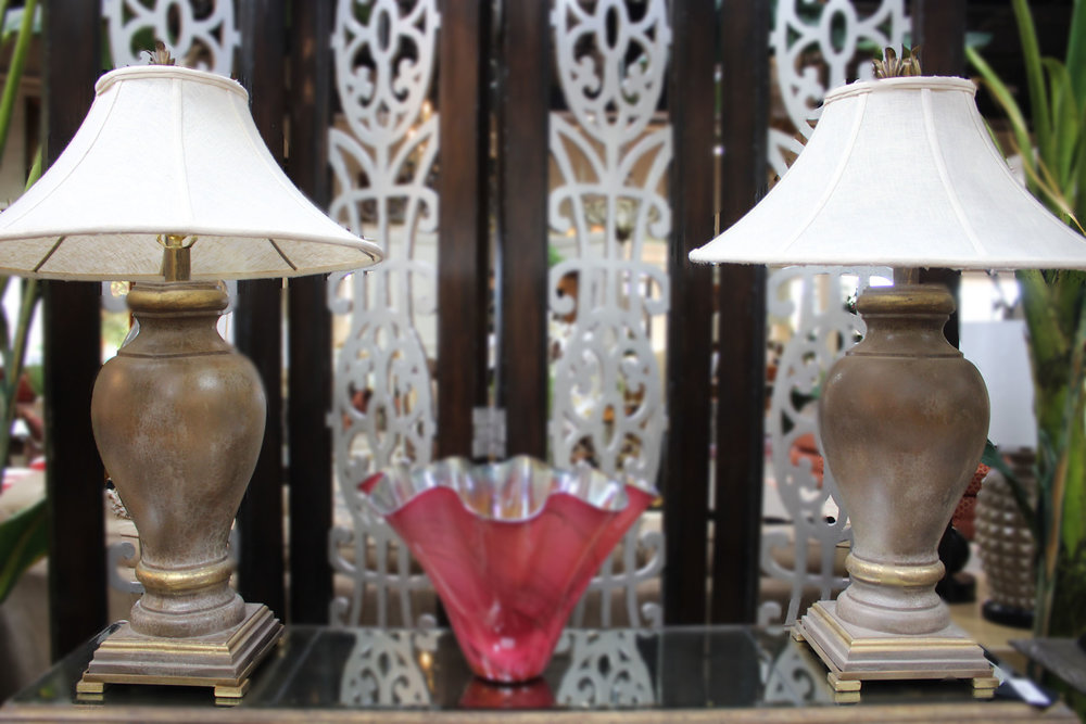 Pair of Ceramic Urn Lamps