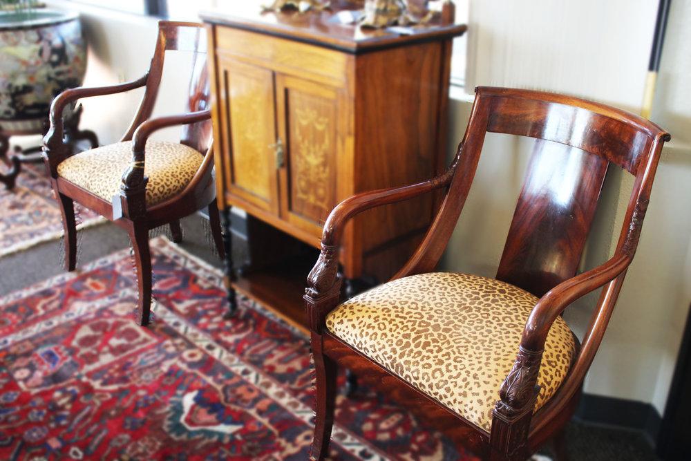 Pair of Mahogany Arm Chairs with Cheetah Fabric