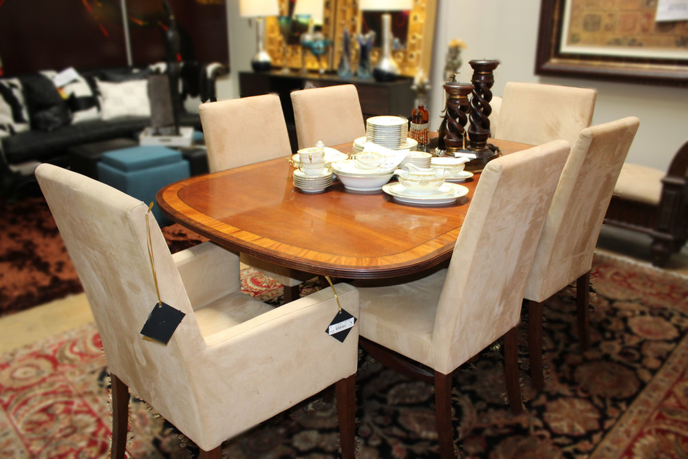 Mahogany Inlay Dining Table with 1 Leaf & Pottery Barn Set of 6 Tan Suede Dining Chairs