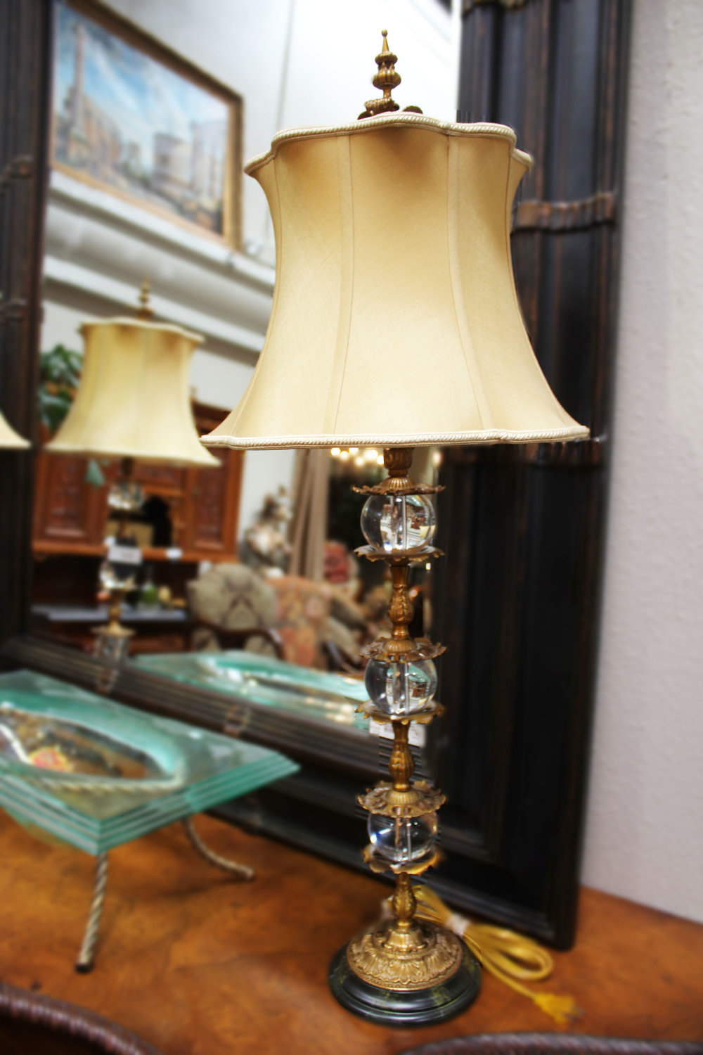 Pair of Brass & Crystal Lamps