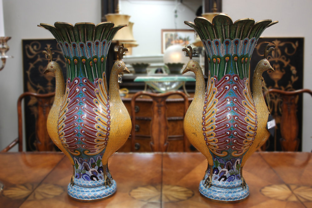 Pair of Cloisonne Peacock Urns