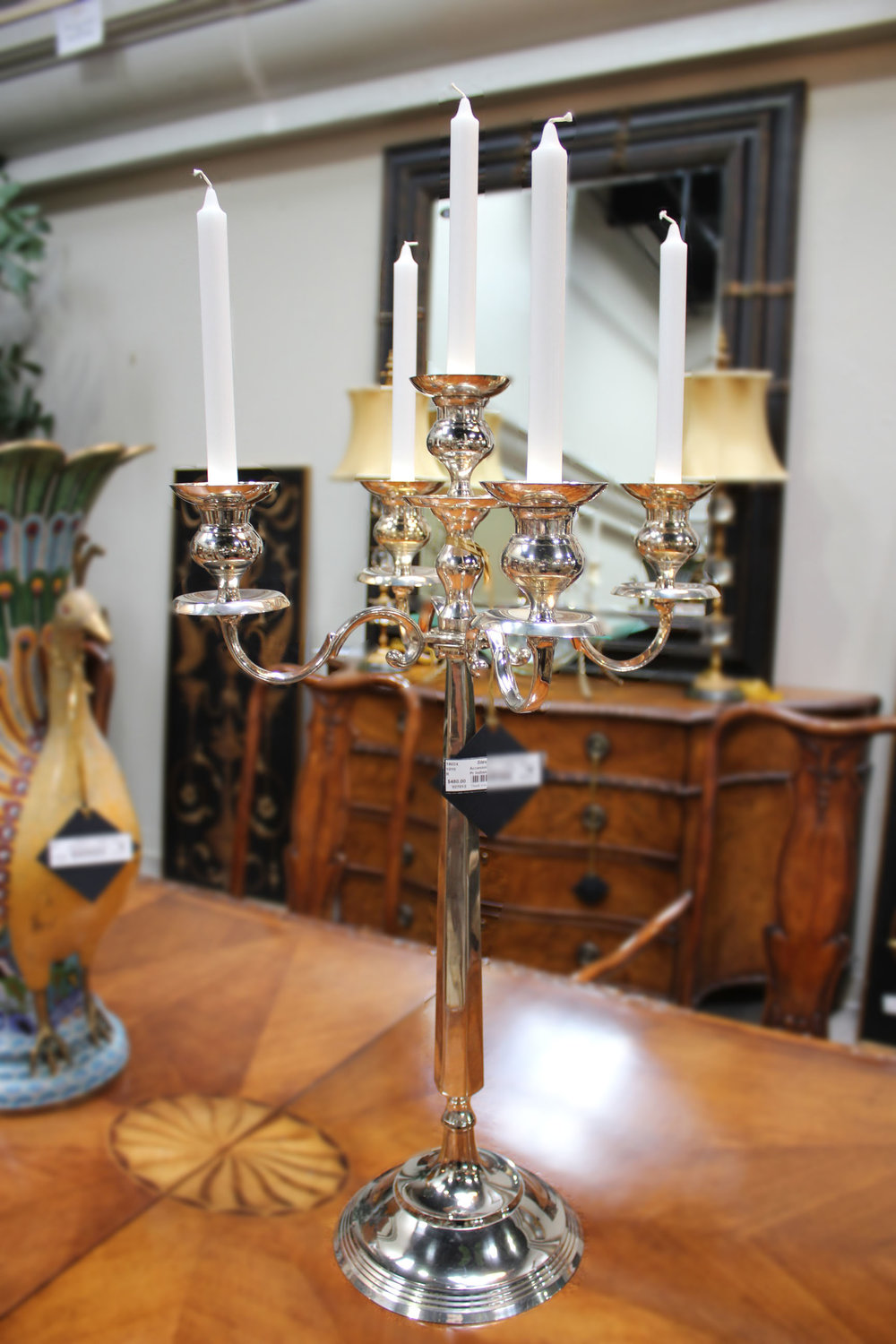 Pair of Indian Silver Candelabras