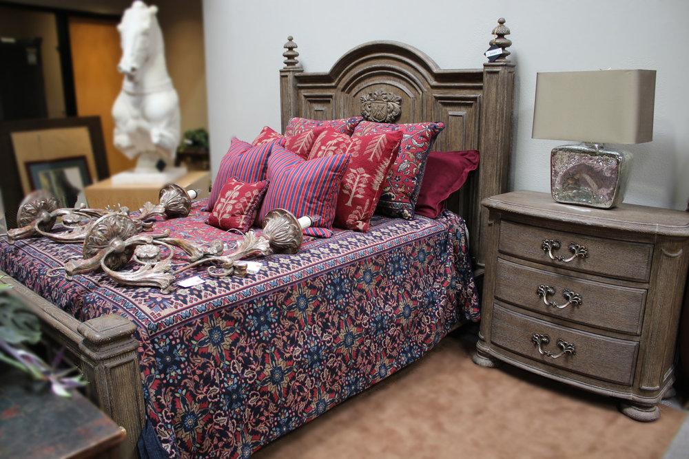 Queen Wood Bed & Nightstand