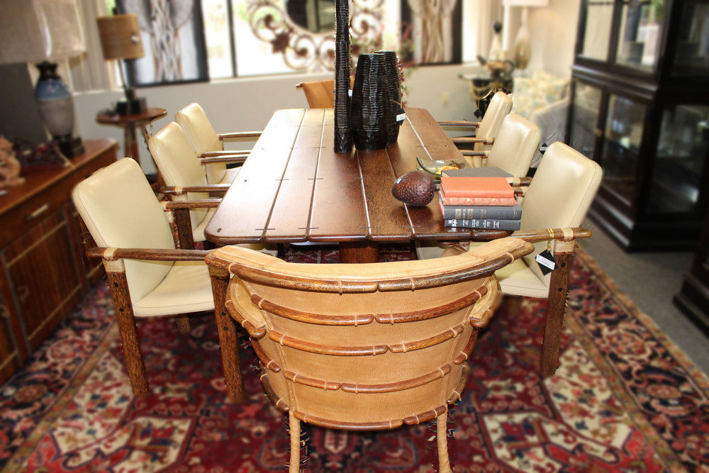 Coconut Wood Plank Dining Table with 8 Chairs