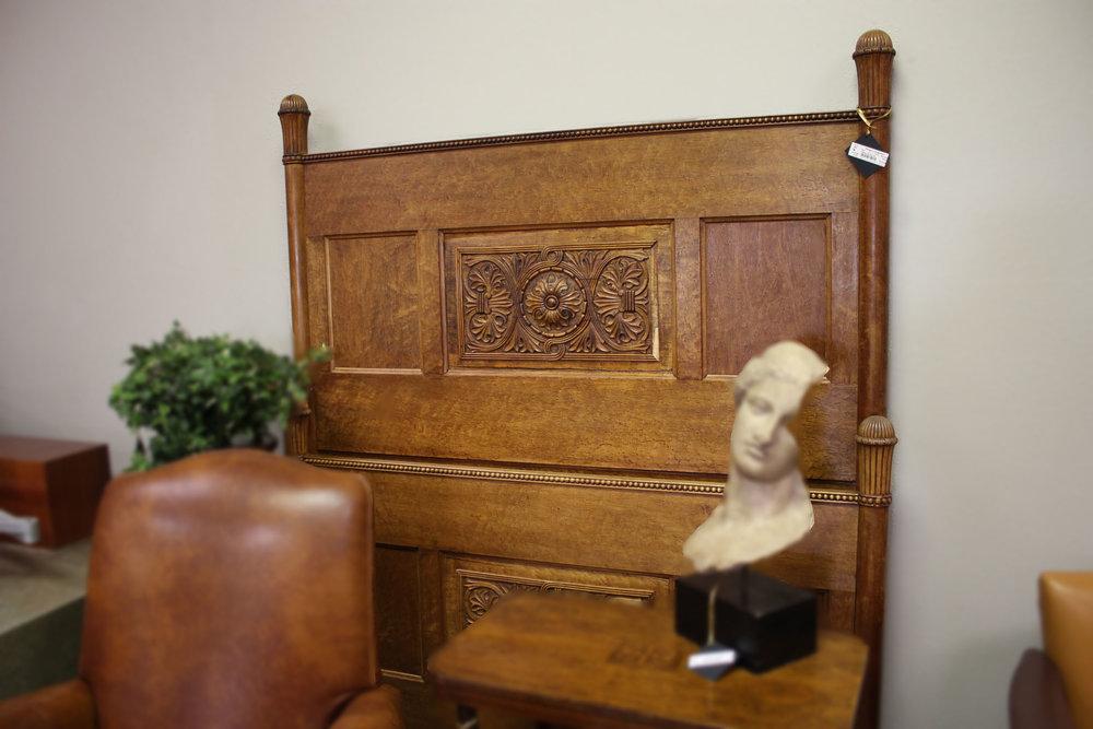 Full Antique Carved Oak Bed