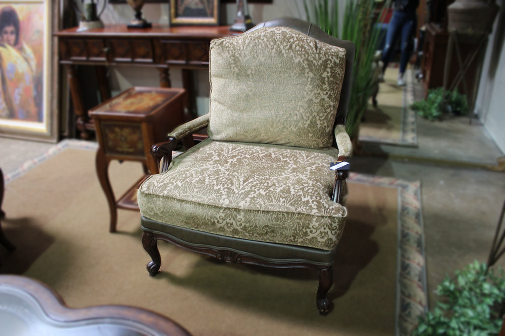 Ethan Allen Green Leather Damask Arm Chair