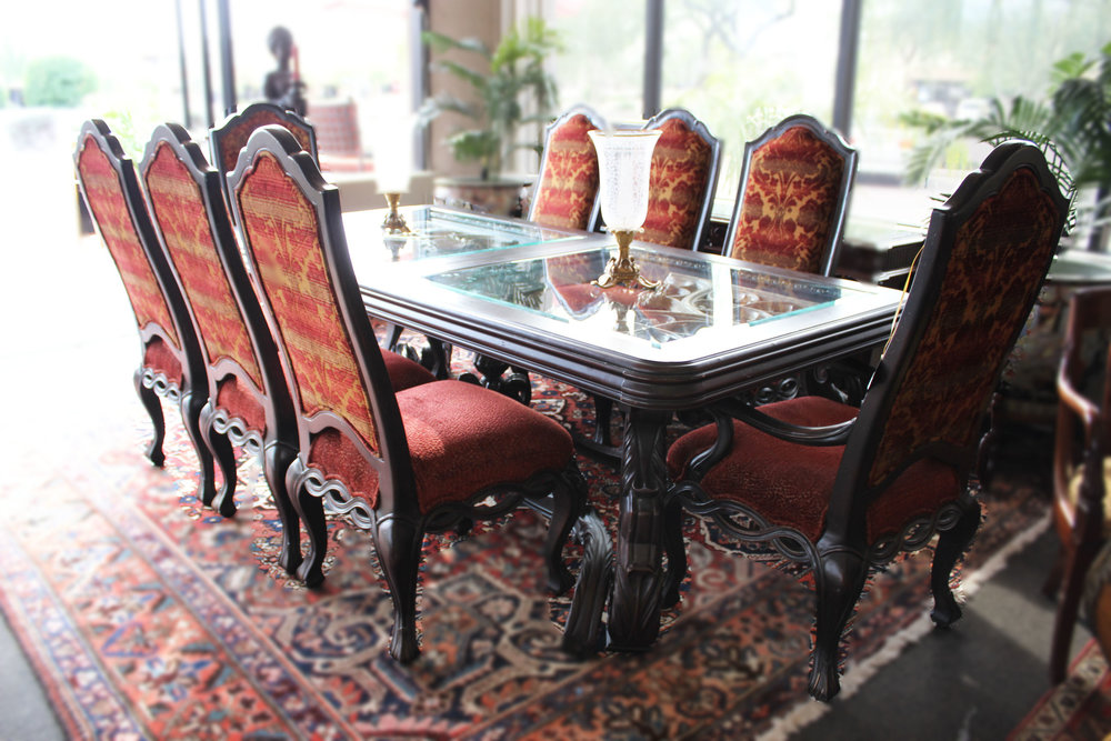 Black Ornate Dining Table with Silver Accents & 8 Chairs