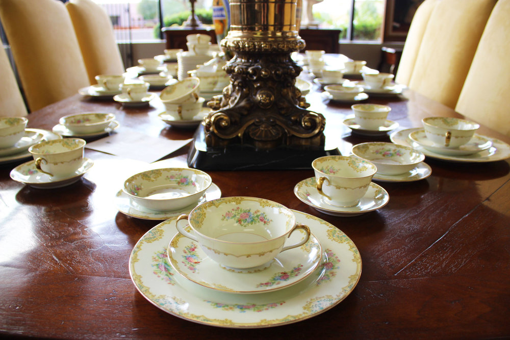 """Noritake """"Alwin"""" China Service for 12 Plus 11 Serving Pieces"""