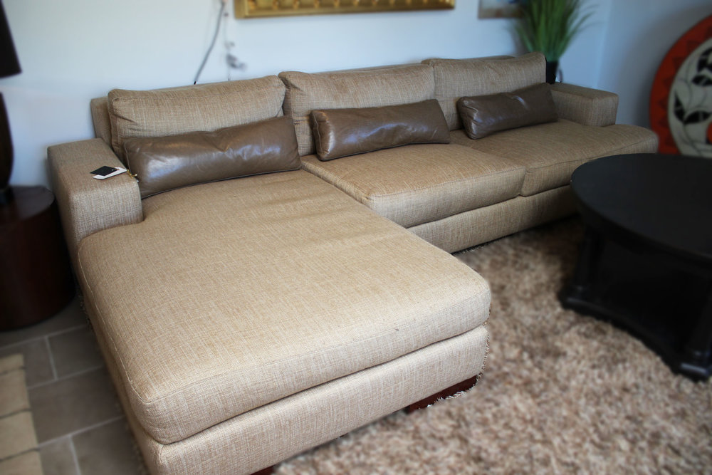 American Leather Camel Hopsack Sectional