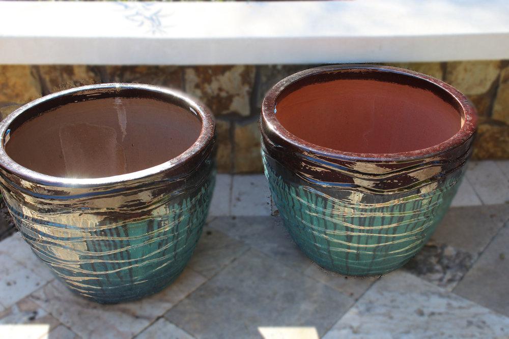 Pair Blue Drip Pots