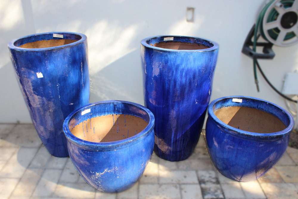Pair of Cobalt Blue Tall Pots & Pair of Cobalt Blue Short Pots