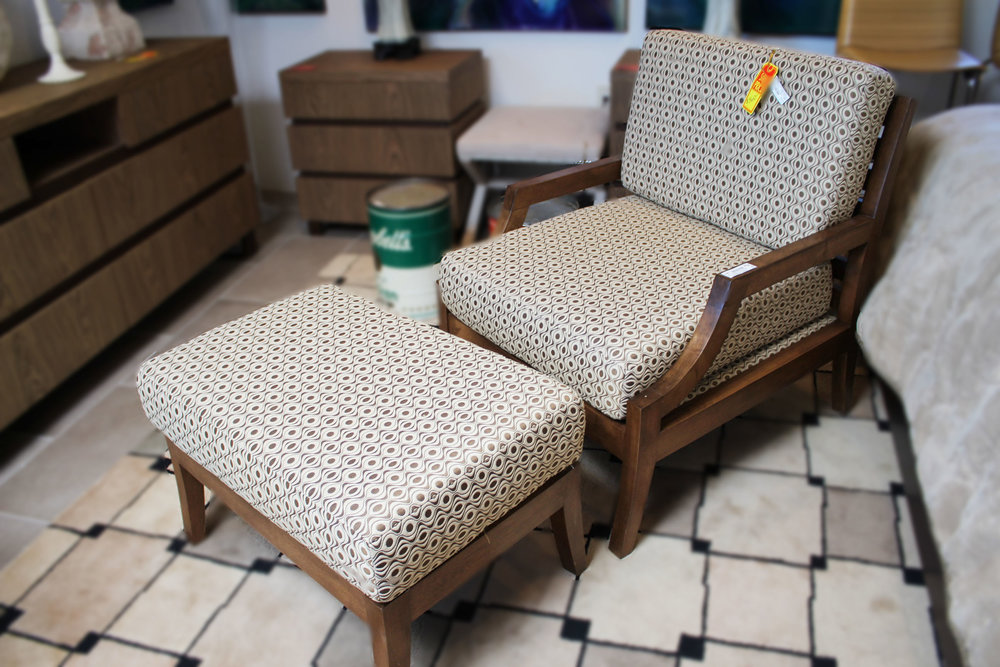 Custom Contemporary Geometric Chair & Ottoman