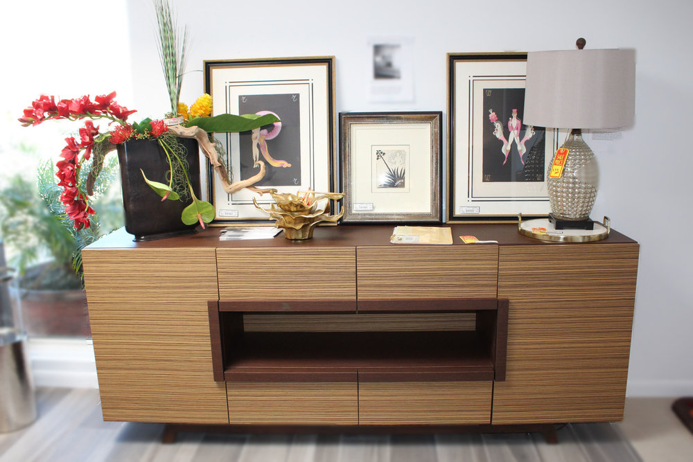 Custom Contempoary Zebrawood Buffet AS IS