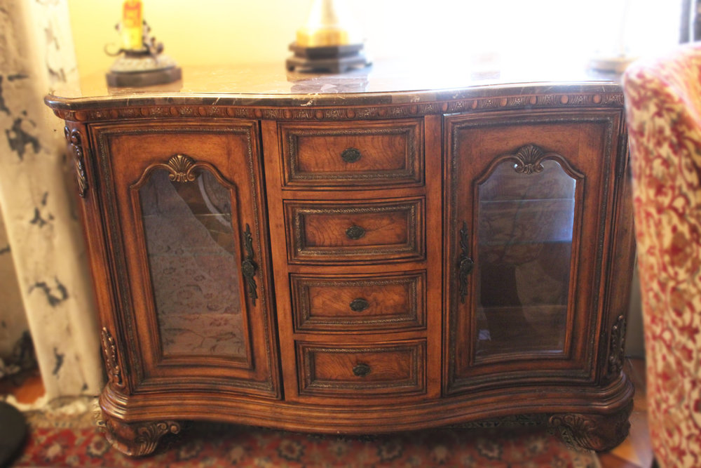 Drexel Heritage Carved 2 Door 4 Drawer Marble Top Cabinet