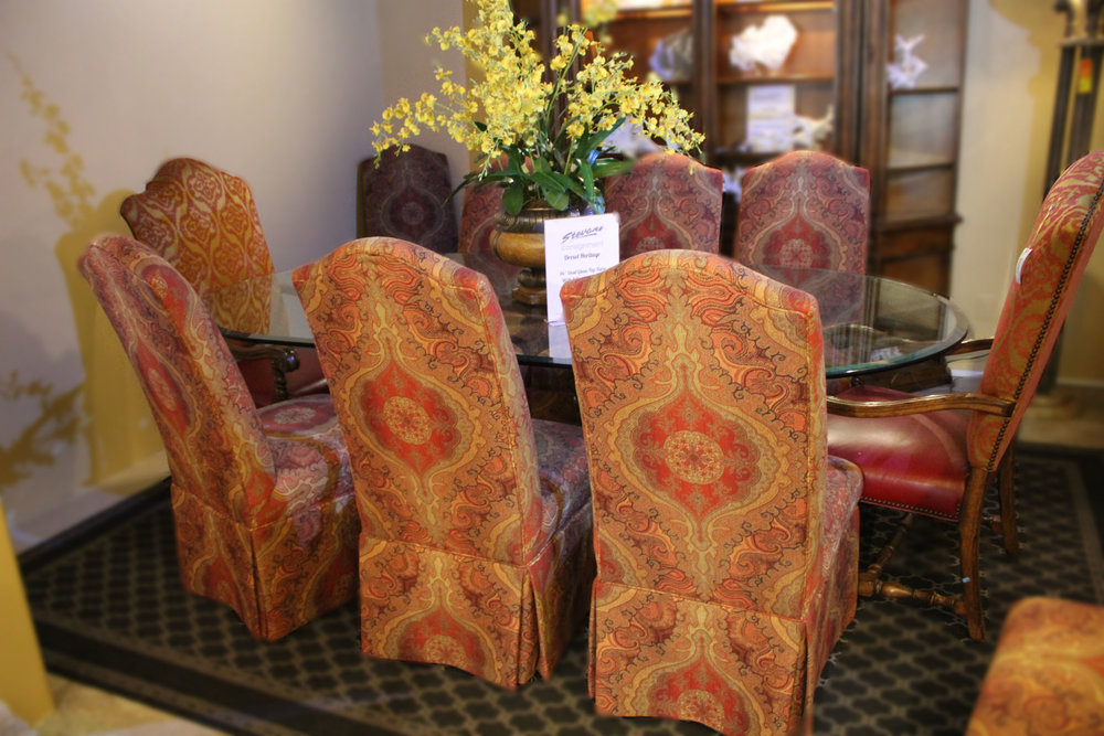 Drexel Heritage Glass Top Oval Table with 8 Parsons Chairs