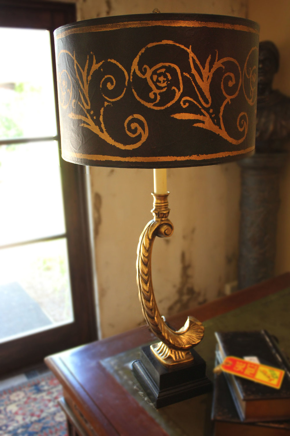 Gold Feather Lamp