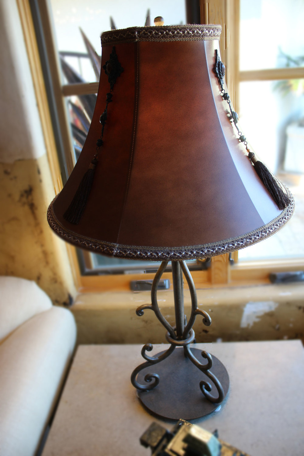 Iron Base Lamp with Leather Shade
