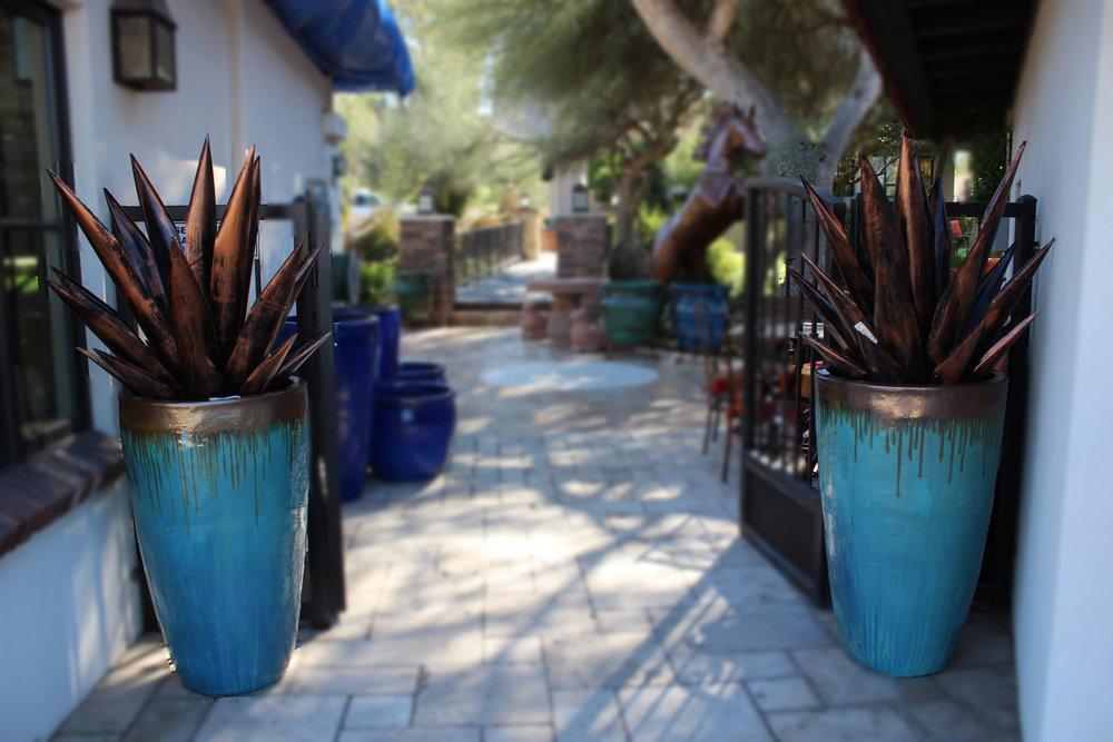 Jade Drip Tall Pots & Black Copper Agave