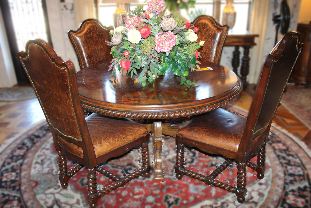 Maitland Smith Marquetry Dining Table with 4 Tooled Leather Chairs