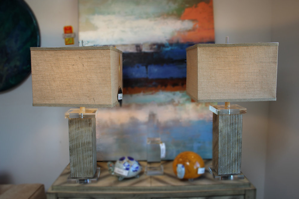 Pair of Burlap and Acrylic Lamps