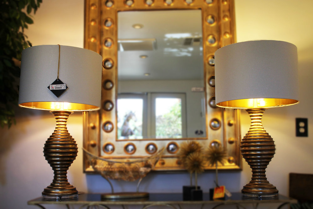 Pair of Gold Ribbed Table Lamps