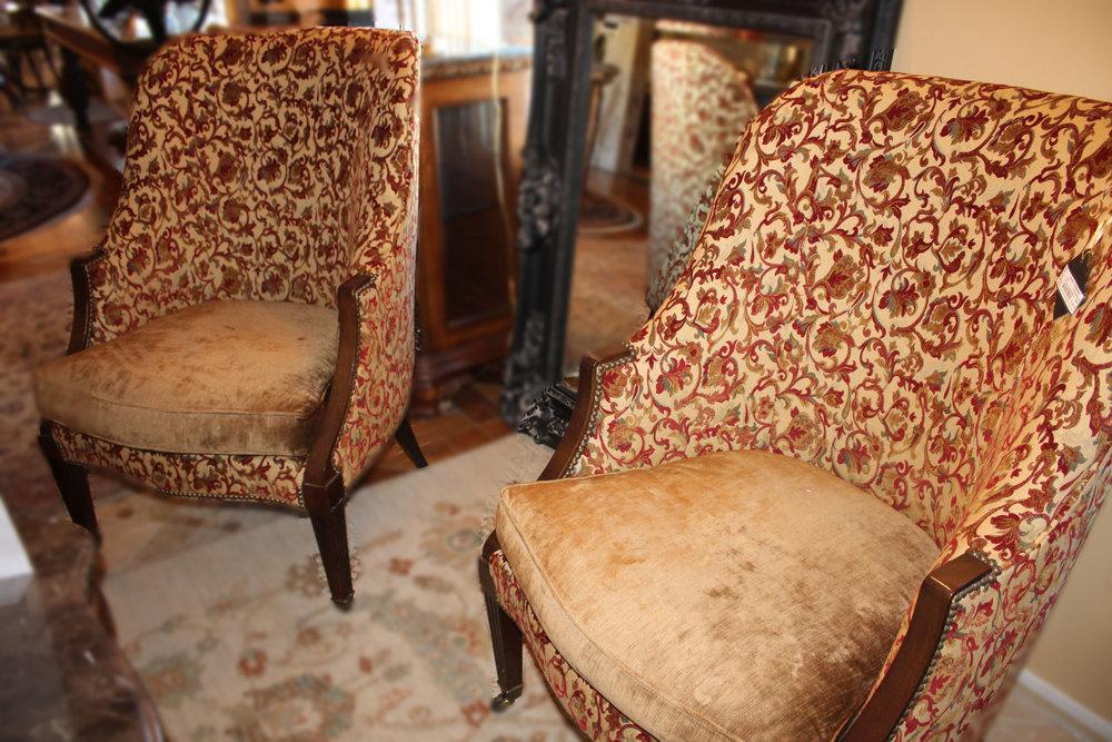 Pair of Lillian August Foliate Arm Chairs
