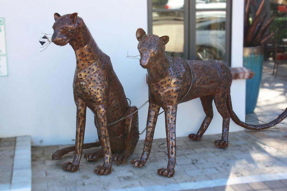 Pair of Outdoor Metal Cheetahs