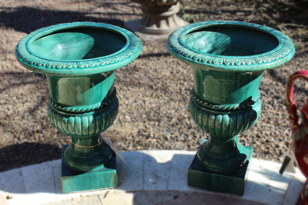 Set of 2 Green Glazed Urns