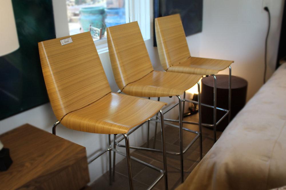 Set of 3 Italy Bamboo Barstools