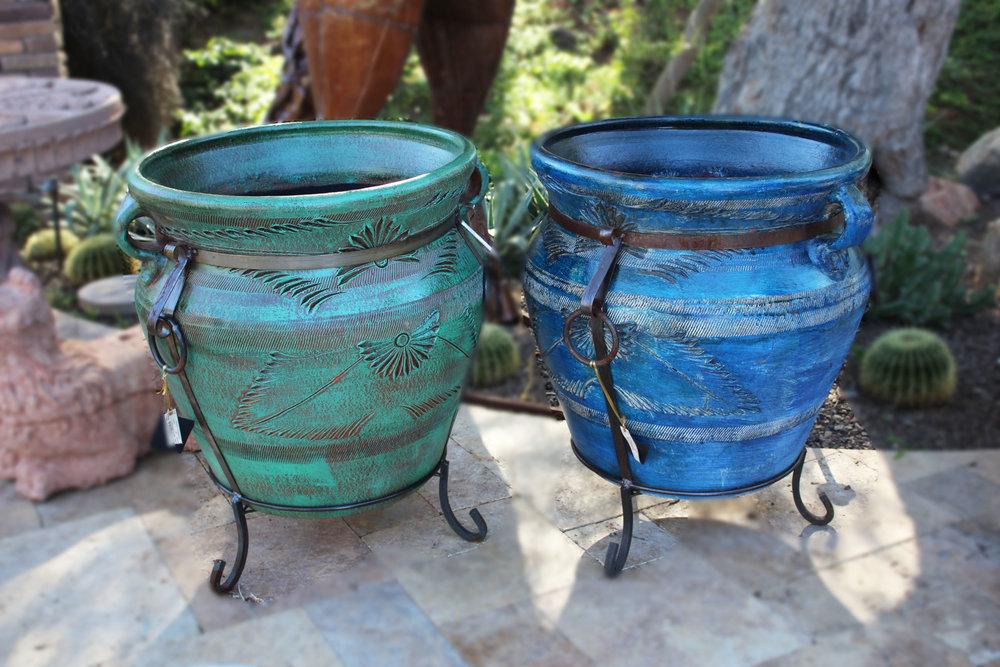 XL Green Pot on Iron Base & XL Blue Pot on Iron Base