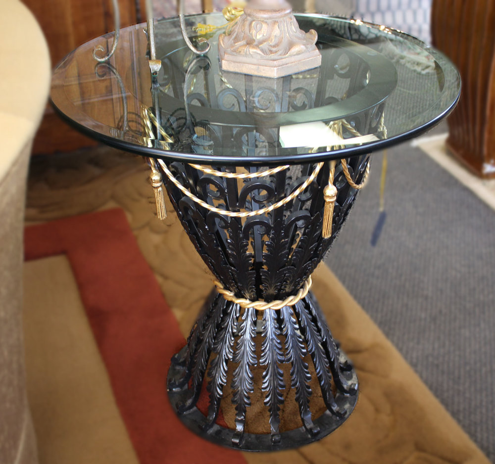 Black Wrought Iron End Table with Gold Swag