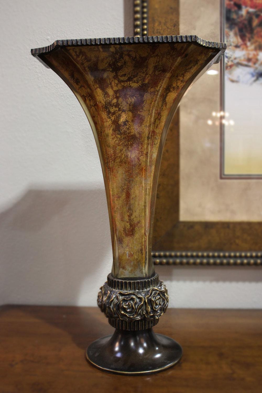 Acrylic Vase with Gold Leaf