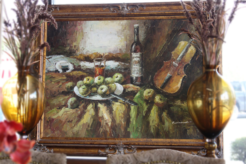 Fruit Wine & Violin Oil Painting