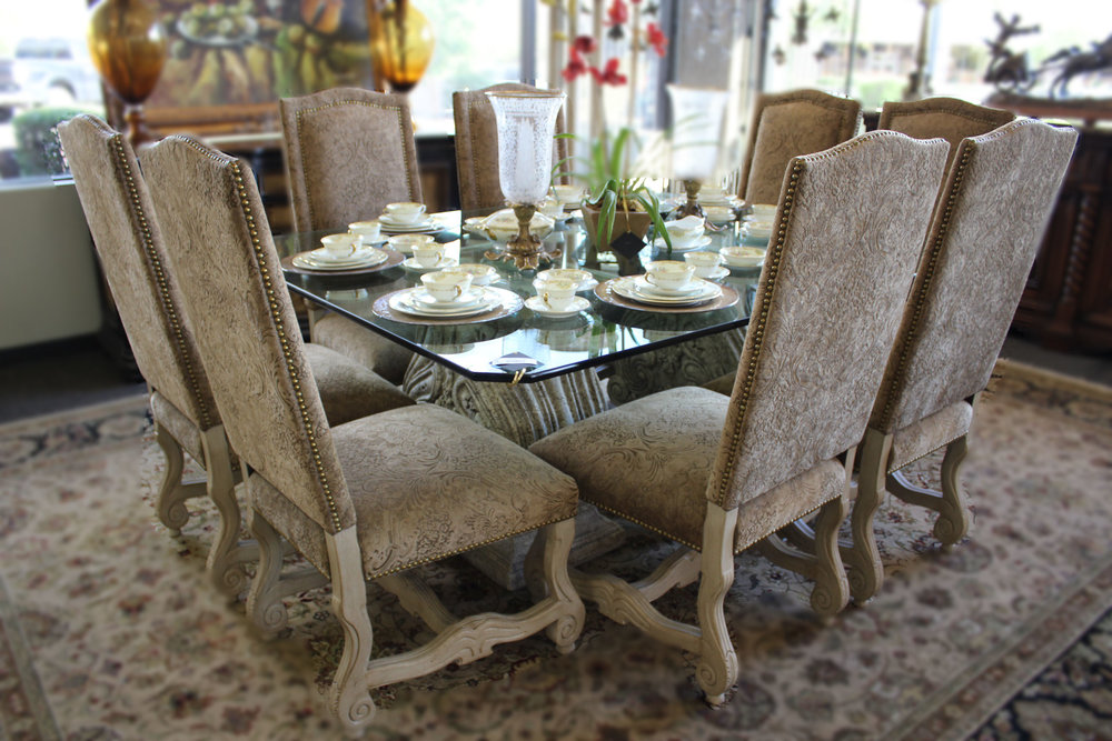 Glass Top Dining Table with 8 Chairs