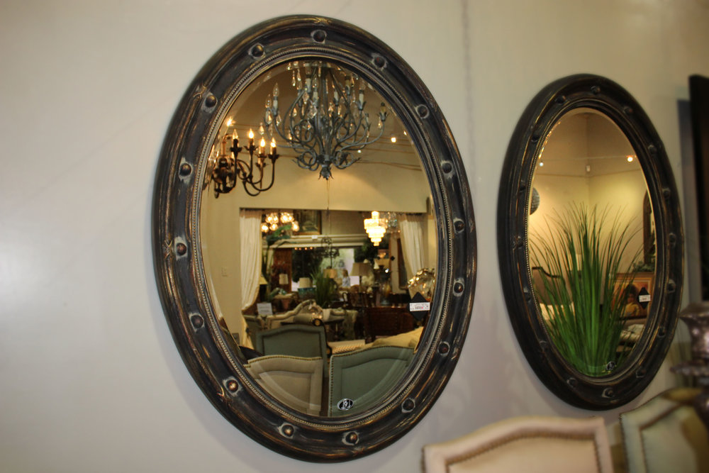 Oval Studded Bronze Mirror