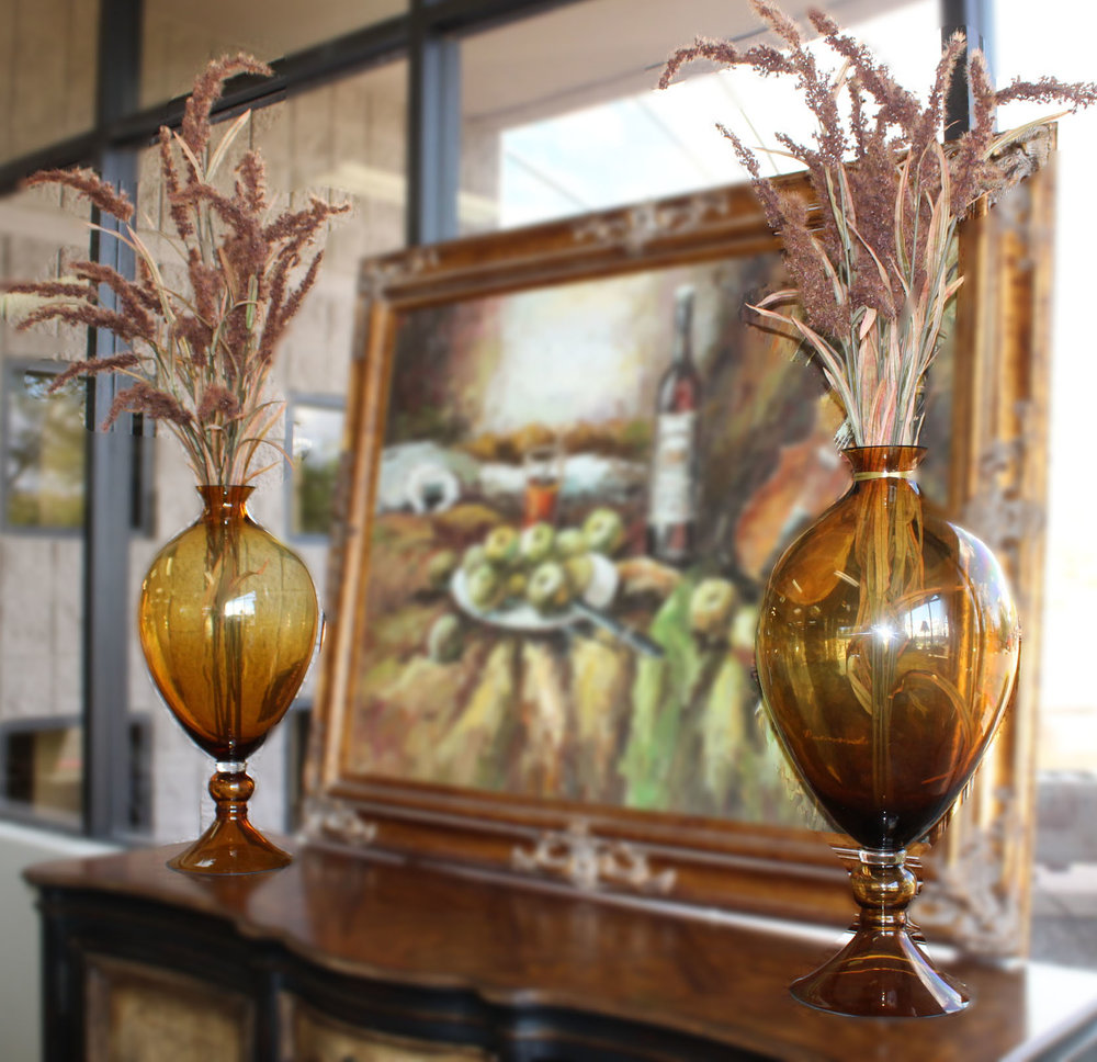 Pair of Amber Glass Vases with Cat Tails