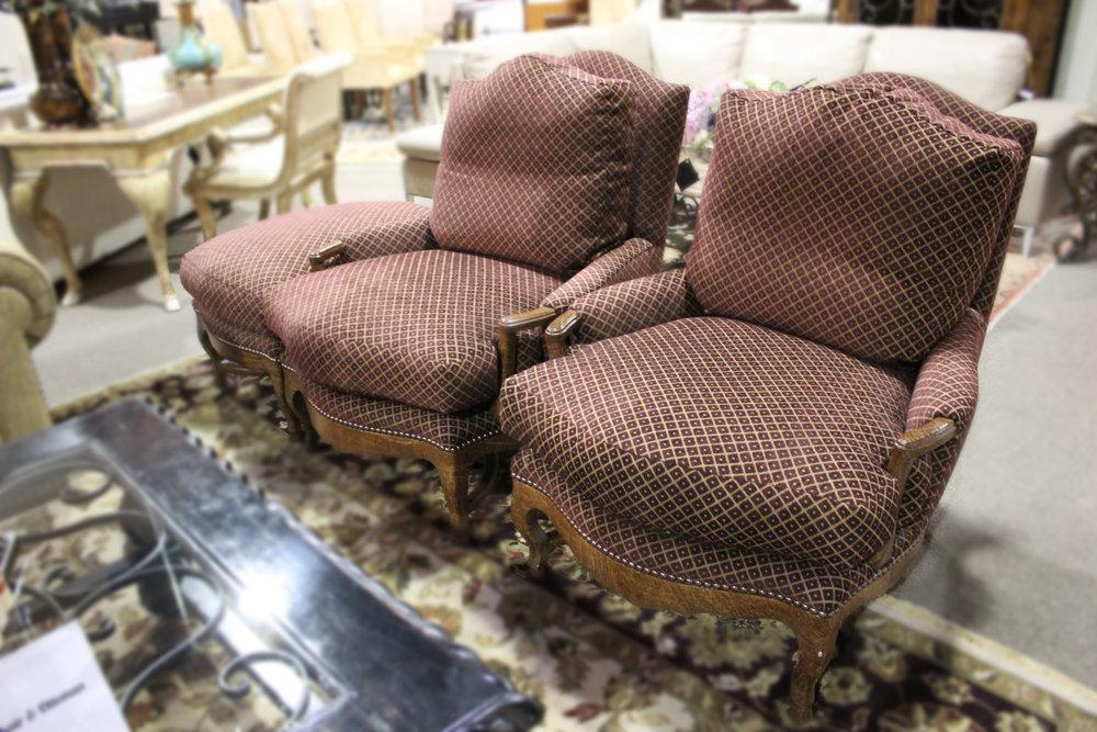 Pair of Burgundy Bergere Chair & Ottoman
