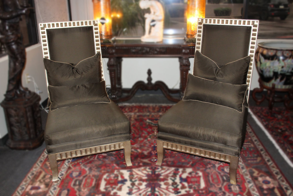 Pair of Olive Silk Highback Chairs AS IS